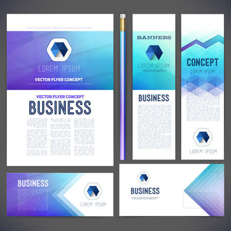 Corporate identity kit or business kit with abstract backgrounds of geometric shapes. Envelopes, letterheads, business cards, flyers for your style