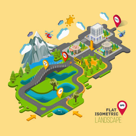 Flat vector landscape with a picture of the nature and landscape of mountains and lakes, road junction GPS navigation infographic 3d isometric concept. Vettoriali