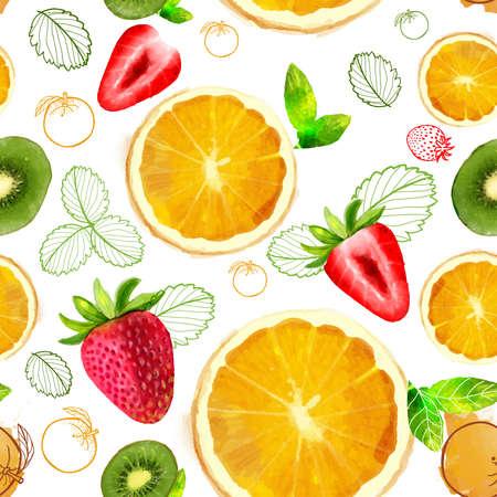 あなたの空想の果物やビタミン、オレンジ、赤、緑色のオレンジ、キウイ スライス、イチゴ、夏物のフルーツのシームレスなパターンの混合物をベ