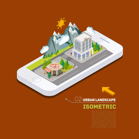 Flat landscape street infographic 3d isometric concept on the phone. Application location building in the natural landscape.