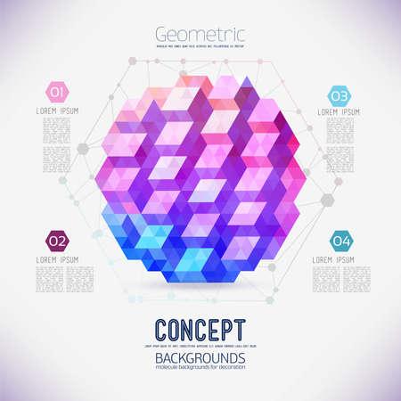 Abstract concept van geometrische compositie, verzameld uit de driehoekige shapes.The zeshoekige moleculaire rooster met geometrische figuur in het midden. Kleur samenstelling vector voor uw ontwerp. Stock Illustratie