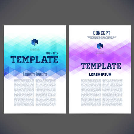 triangular: Abstract vector template design, brochure, Web sites, page, leaflet, with colorful geometric triangular backgrounds, and text separately.