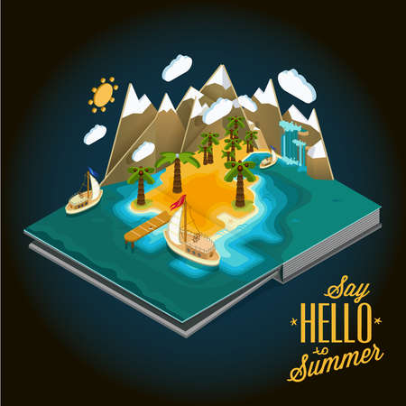 desert landscape: Flat landscape isometric concept. desert island with a pier and boat, ocean, blue lagoon, paradise piece of land, sultry summer vacation on the beach. Pictured 3d isometric concept.