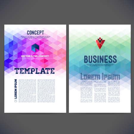 ベクトル テンプレート デザイン、パンフレット、Web サイト、ページ、リーフレット、カラフルな幾何学的な三角の背景とテキストを別々 に抽象化  イラスト・ベクター素材