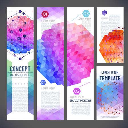 Vijf abstract ontwerp banners, zakelijke thema, flyer drukwerk, webdesign, geometrisch patroon van driehoeken, de samenstelling van de geometrie van verschillende kleuren. Moleculaire en mesh grille, medische thema