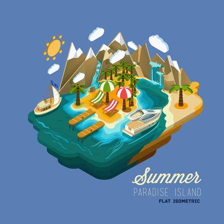 Platte vector isometrische samenstelling. Zomer vakantie op het eiland. Paradijs met palmbomen, een waterval en een jacht. Afgebeeld isometrische 3D-concept.