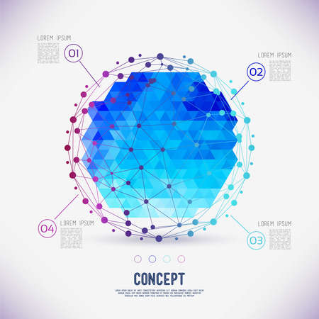 white space: Abstract concept geometric lattice, the scope of molecules,in the circle. Round composition of the molecular lattice with geometrical figure in the middle. Color composition vector for your design.