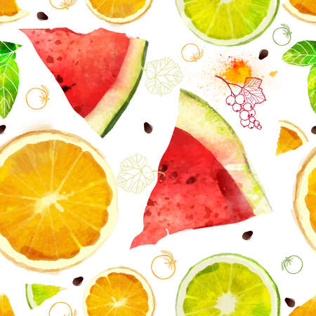 citruses: Vector Fruit seamless pattern mixture of orange, lime, watermelon, summer composition of fruits and vitamins, orange, red, green color of your fantasies! Watercolor handiwork.