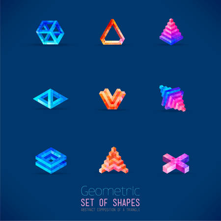Set of color abstract geometric figures collected from a triangle. Nine forms for registration of your ideas business concepts.