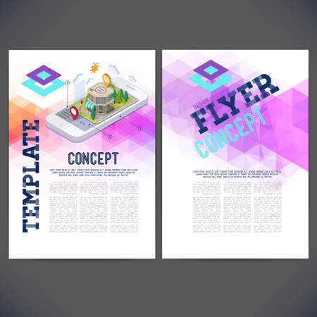 Abstract vector template design, brochure, Web sites, page, leaflet.Flat landscape street infographic 3d isometric concept on the phone. 일러스트