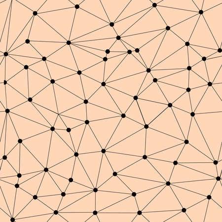 ベクターのシームレスな格子パターン。多角形のテクスチャです。三角形と、ノード内のノードと円の幾何学的なパターンを繰り返します。  イラスト・ベクター素材