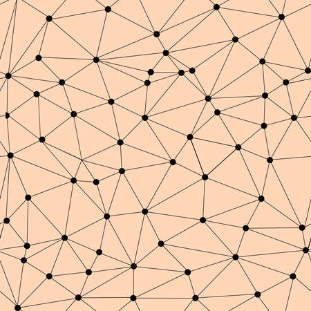 Vector seamless lattice pattern. Polygonal texture. Repeating geometric pattern of triangles and circles with nodes in the nodes.