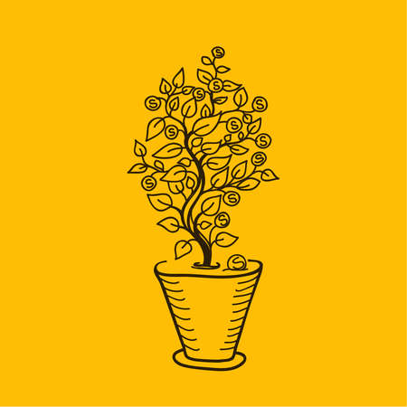 growing money: Image money tree in a pot. Simple drawing lines. Metaphor money growing on tree Illustration