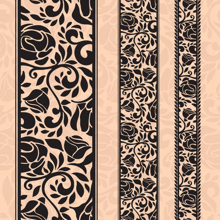 design frame: Vintage seamless decorative patterns in the form of strips.Lace strips for decoration and design.Template frame design for card. Lace Doily. Can be used for packaging, invitations, and template.