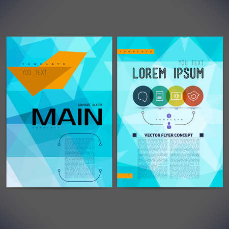triangular: Abstract vector template design, brochure, Web sites, page, leaflet, with colorful geometric triangular backgrounds and text separately.