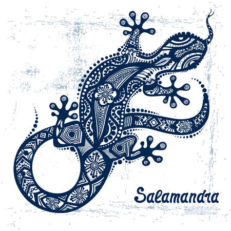 Vector drawing of a lizard or salamander  with ethnic patterns of Aboriginal Australia. On the grange background. Image salamandy as a tattoo. Vettoriali