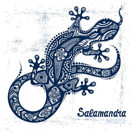Vector dibujo de una lagartija o salamandra con los patrones étnicos de la Australia aborigen. En el fondo del granero. Imagen Salamandy como un tatuaje. Ilustración de vector