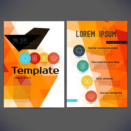 polygraphy: Abstract vector template design, brochure, Web sites, page, leaflet, with colorful geometric triangular backgrounds, logo and text separately. Illustration