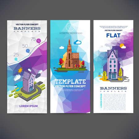 Vector flyer begrip banner met abstract geometrische achtergrond en het beeld van het landschap met een hotel en de kerk. Platte vector en isometrische voor u.