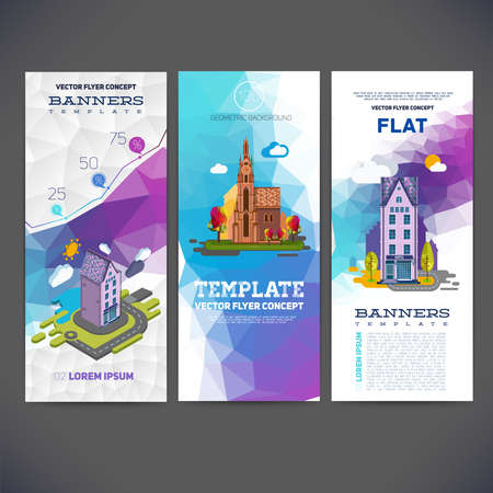 church building: Vector flyer concept banner with abstract geometric background and the image of the landscape with a hotel and church. Flat vector and isometric for you. Illustration