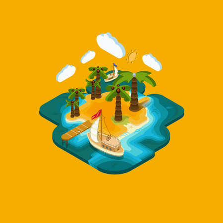 blue lagoon: Flat landscape isometric concept а desert island with a pier and boat, ocean, blue lagoon, paradise piece of land, sultry summer vacation on the beach.. Pictured 3d isometric concept.