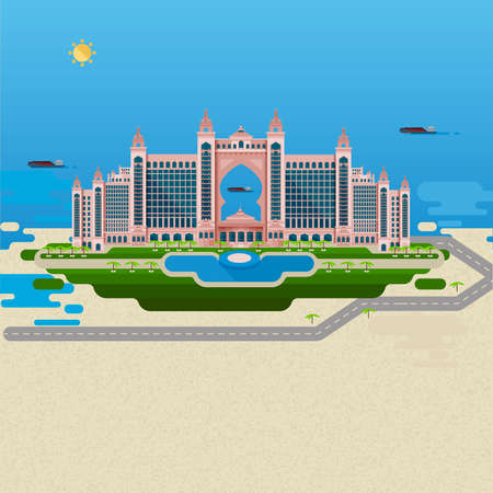SEA  LANDSCAPE: Flat design landscape. Vector image of the hotel for a summer holiday, with elements of the pool and park for walking