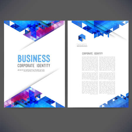 printing business: Abstract vector template design, brochure, Web sites, page, leaflet, with colorful geometric triangular backgrounds, and text separately.