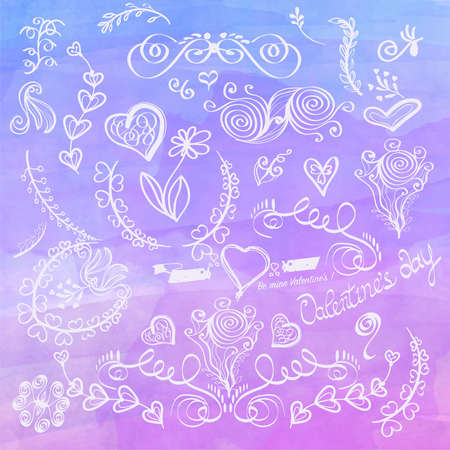 Hand Drawn Romantic Decoration against the background of watercolor curls and doodles handmade for your design, all elements separate.