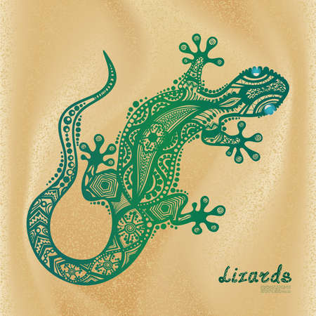 Vector drawing of a lizard with ethnic patterns of Aboriginal Australia. On the background of sand and waves. Image salamandy as a tattoo.