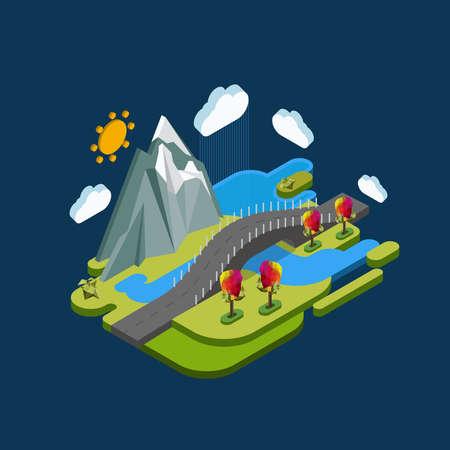 平らな地形等尺性概念自然山、橋と川。写真の 3 d アイソ メトリック コンセプト。
