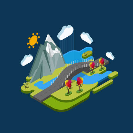 pictured: Flat landscape isometric concept nature with mountains, bridge and river. Pictured 3d isometric concept. Illustration