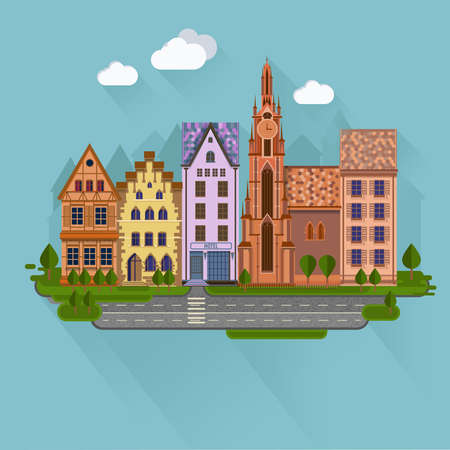 urban street: Flat design urban landscape.Day street with roads and buildings European style. Illustration