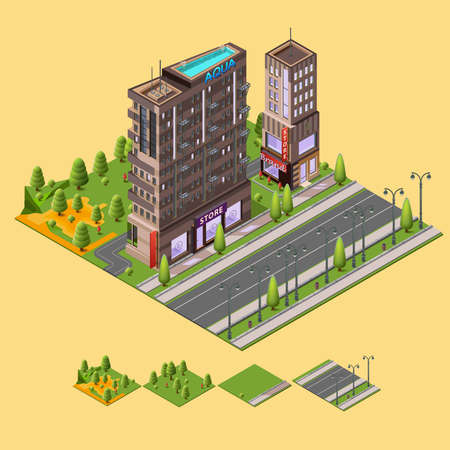 megapolis: Isometric city concept. 3D vector illustration with buildings and a rooftop swimming pool, cafes, store and park around the residential buildings. Illustration