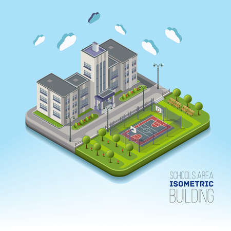Isometric school area with basketball and garden around, with flowerbeds and flowers. The school building vector isolated on background. Illustration