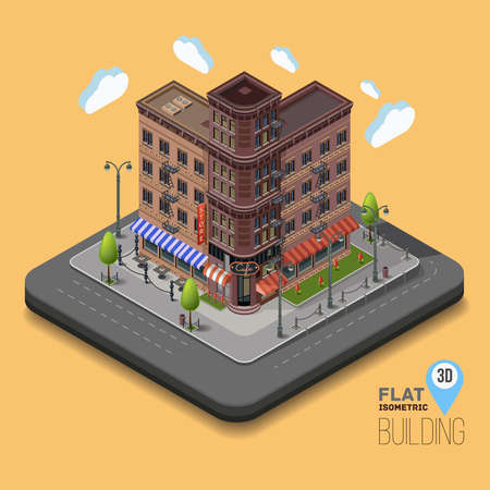 megapolis: Vector city with isometric old buildings and cafes in the middle. Street light poles and fences and flower beds. Concept street with apartment buildings. Urban flat 3d vector illustration.