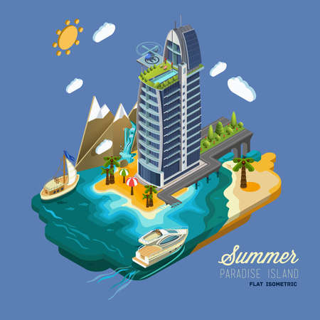 berth: Summer Paradise Island, part of the land hotel and surrounding landscape and buildings, palm trees, mountains, the sea, the yacht, the road to the hotel across the ocean. Vector isometric 3D concept. Illustration