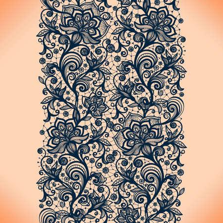 Seamless Résumé de dentelle avec des fleurs. Fond d'écran à l'infini, décoration pour votre conception, de la lingerie et des bijoux. Vos cartes d'invitation, papier peint, et plus encore. Banque d'images - 44789555