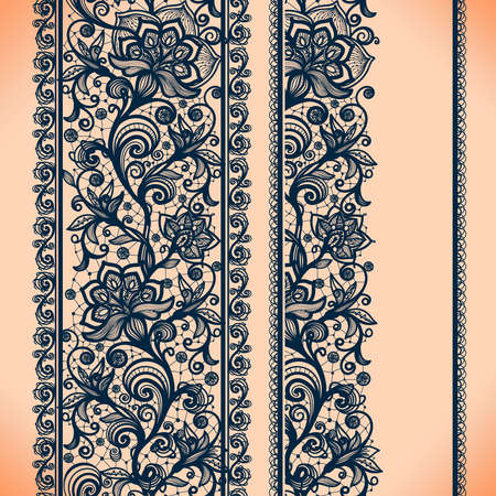 Abstract Lace Ribbon Vertical banners.Template frame design for card.Lace Doily.Can be used for packaging, invitations, and template.