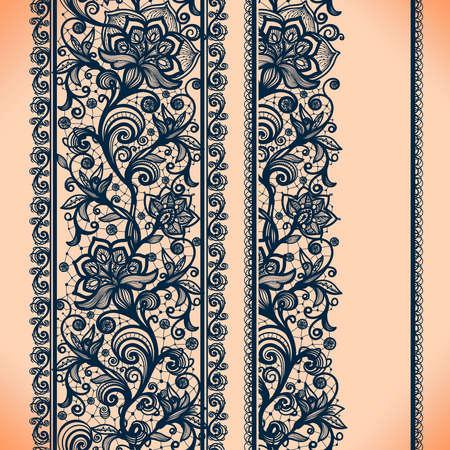 encaje: Diseño del marco de la cinta del cordón Resumen Vertical banners.Template para card.Lace Doily.Can ser utilizado para el embalaje, las invitaciones, y la plantilla. Vectores
