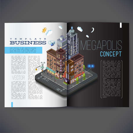 megalopolis: Vector template design for the pages of the magazine, brochure, page, leaflet, with 3d isometric buildings concept. Street, with shops, restaurants and offices, all text separately.