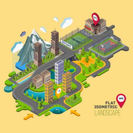 Flat vector landscape with a parks,buildings,seating area, sports grounds, picture of the nature and landscape of mountains and lakes, road junction GPS navigation infographic 3d isometric concept. Vettoriali