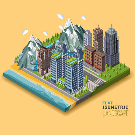 city building: Isometric city concept, part of the land to the sea and the beach, the ocean, mountains,. 3D vector illustration with buildings.