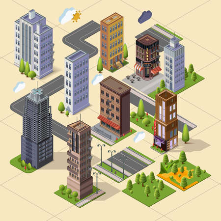 cafe shop: Isometric skyscrapers and office buildings, houses, roads, and parks. Set vector isometrics landmarks. Isolated buildings for your design. Flat vector.