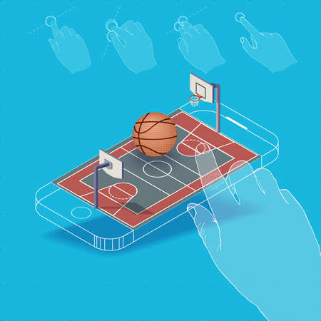pictured: Flat vector Isometric composition on screen phone. Basketball court for a game with gestures, finger movements. Pictured 3d isometric concept.