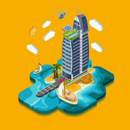 island paradise: Summer Paradise Island, part of the land hotel and surrounding landscape and buildings, palm trees, mountains, the sea, the yacht, the road to the hotel across the ocean. Vector isometric 3D concept. Illustration
