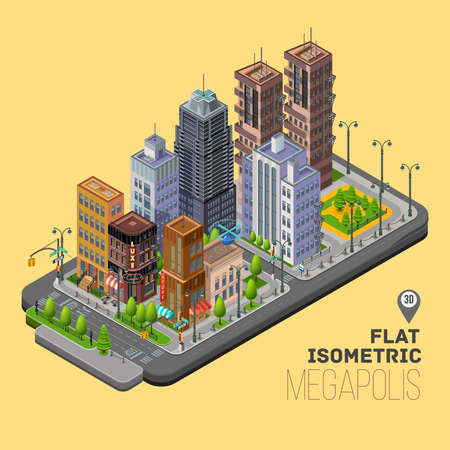 Isometric city, megapolis concept with 3d office buildings, cafes, store, skyscraper, street, lights, traffic lights and signs. Vector urban landscape illustration.