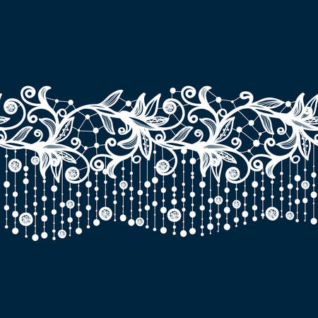 Abstract Lace Ribbon Seamless Pattern. Template frame design for card. Lace Doily. Can be used for packaging, invitations, and template.