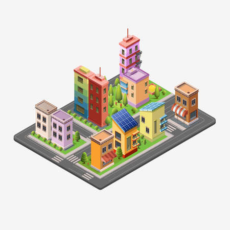 megapolis: Isometric skyscrapers and office buildings, houses, roads, and parks. Set vector isometrics landmarks. Isolated buildings for your design. Flat vector.
