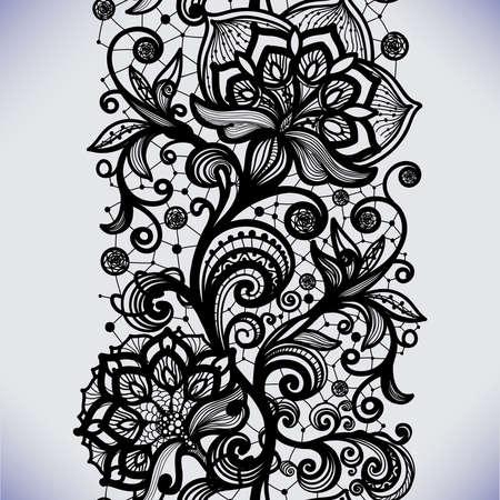 花を持つ抽象的なシームレスなレース パターン。無限の壁紙、デザイン、ランジェリー、ジュエリーの飾り。招待状、壁紙など。 写真素材 - 44789623