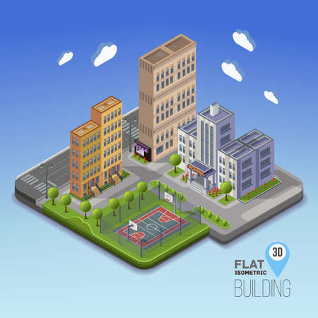flower concept: Urban landscape 3D city, school area with basketball and garden around, with flowerbeds and flowers. Isometric  vector illustration.